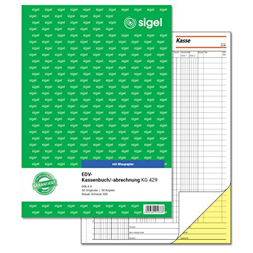 Sigel KG429 EDV Accounting Book with Copy Paper, Tax Rail 300 A4 2 x 50 Sheets with Blue Carbon Paper with Blue Carbon Paper, 2 x 50 Sheets (Pack of 10) Pack of 1 from Sigel