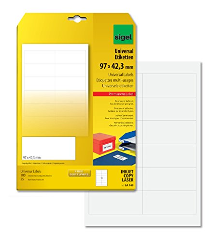 SIGEL LA140 Universal Permanent Labels, white, 9.7 x 4.23 cm, 300 lbl = 25 sheets, white from Sigel