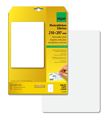 SIGEL LA230 Universal Removable Labels, 21 x 29,7 cm, 25 lbl = 25 sheets, white from Sigel