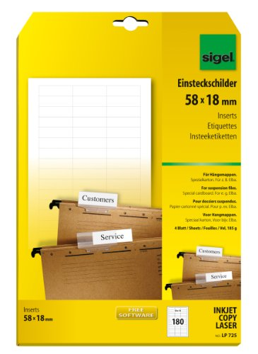SIGEL LP725 PC Inserts for suspension files, 5.8 x 1.8 cm, 185 gsm, 180 pcs. = 4 sheets, white from Sigel