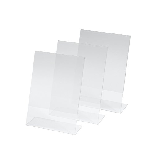 SIGEL TA212 Sign Holder, Slanted, for A5, Single-Sided Presentation, Acrylic, Transparent, 3 pcs. from Sigel