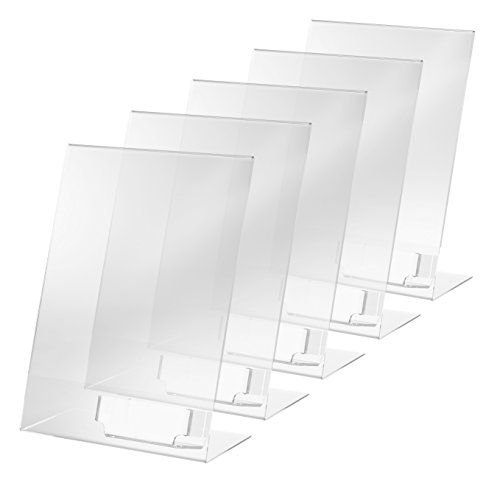 SIGEL TA230 Sign Holder, slanted, for A4, with business card compartment, acrylic, transparent, 5 pcs. from Sigel