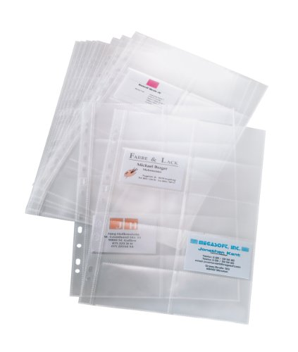 SIGEL VZ351 Pockets for Business Card Organisers, two row, transparent, 10 pcs. from Sigel