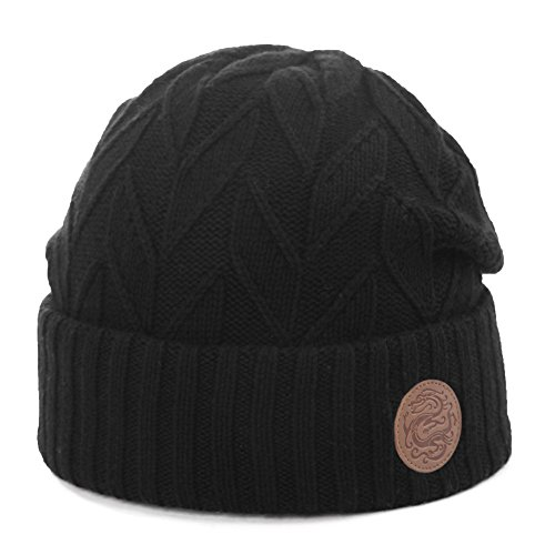 1401bb72079 Siggi Mens Slouch Beanie Hat Thick Wool Blend Knitted with Soft Fleece  Lined Winter Outdoor Hat