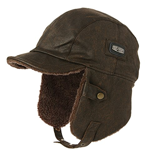 659c3e9e75a1ec SIGGI Unisex Pilot Hat Aviator Cap Leather Adult Brown Mens Women Winter  Trapper Hunting Hats from