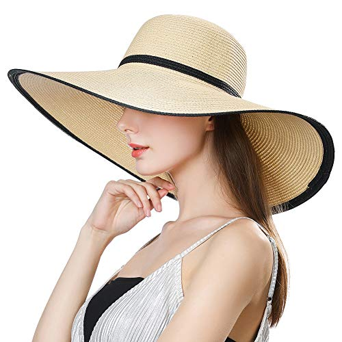 3303fa8a449 Sun Hats for Women Foldable UV Protection Large Wide Brimmed Floppy Panama  Style Straw Beach Hat