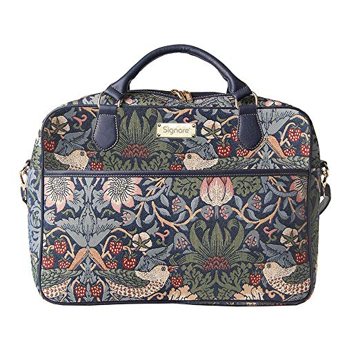"Signare Ladies Tapestry Business Briefcase Fashion Laptop Computer Bag in William Morris Strawberry Thief Blue Design, 15.6"" from Signare"