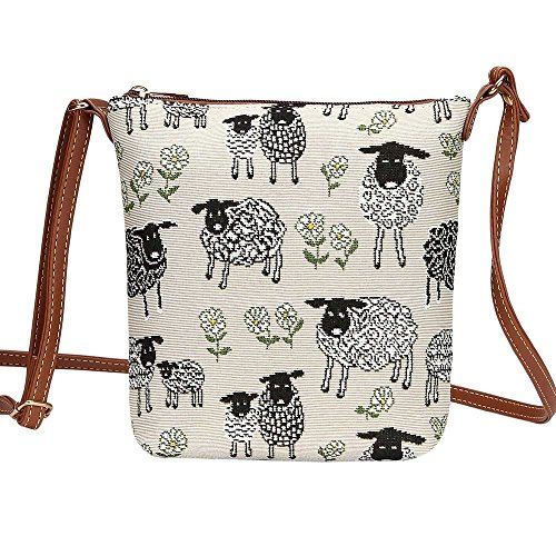 3b98b0a7ef4a Signare Tapestry Women Lightweight Sling Cross Body Satchel Bag Lamb Sheep  and Daisies Flower (SLING
