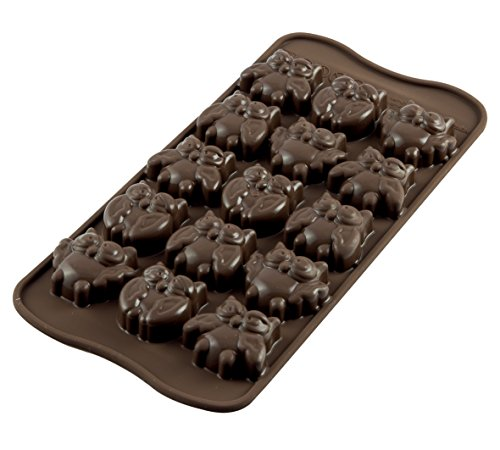 silikomart Silicone Chocolate Mould Owls, Brown from silikomart