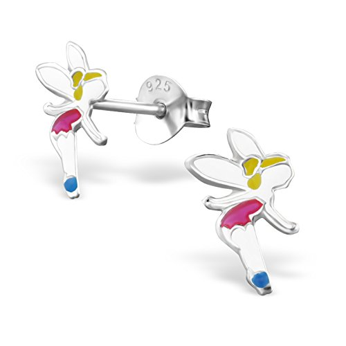 Silvadore - 925 Sterling Silver Childrens Stud Earrings - Fairy Angel - Butterfly Clasp - Free Gift Boxed from Silvadore