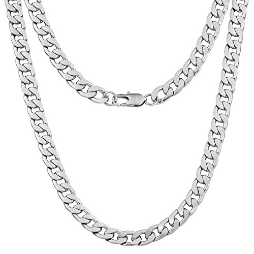"Silvadore 9mm FLAT CURB Cuban Necklace OR Bracelet Chain - Men's Silver Stainless Steel Jewellery - 7.5"" to 24"" Lengths - 60 Days Money Back Guarantee (22, Branded Velvet Pouch) from Silvadore"