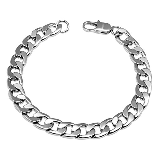 "Silvadore 9mm Curb Mens Necklace Silver Chain Cuban - Stainless Steel Jewellery - Neck Link Chains for Men Man Women Boys Kids - 18"" 20"" 22"" 24"" - 8mm Bracelet 7.5"" 8"" 8.5"" 9"" - Flat 2mm Thick from Silvadore"