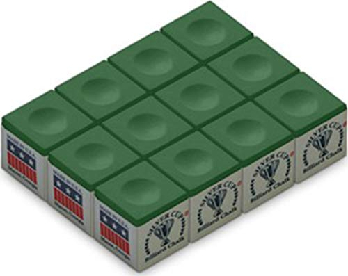 Silver Cup Billiard/Pool Cue Chalk Box, Green, 12 Cubes from Silver Cup