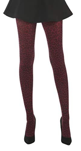 07c0a7ea648 Ladies Women Leopard Print Tights In Numerous Colours (Burgundy) from  Silver Legs