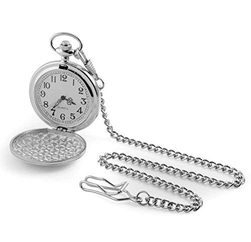 Chrome pocket watch on chain in gift box - fine quality quartz movement from Silver2Love