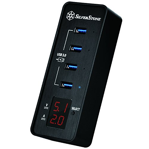 SilverStone SST-EP03-4-Port USB 3.0 Data Hub, Display, OVP, OCP, aluminum from SilverStone