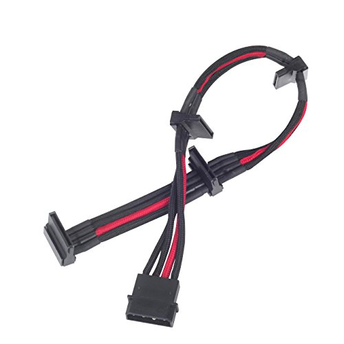 SilverStone SST-PP07-BTSBR - 30cm Molex to 4x SATA Sleeved Extention Cable, black red from SilverStone Technology