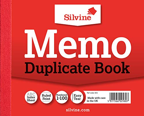 Silvine Duplicate Memo Book - Numbered 1-100 with index sheet (102 x 127mm) [Pack of 12] from Silvine