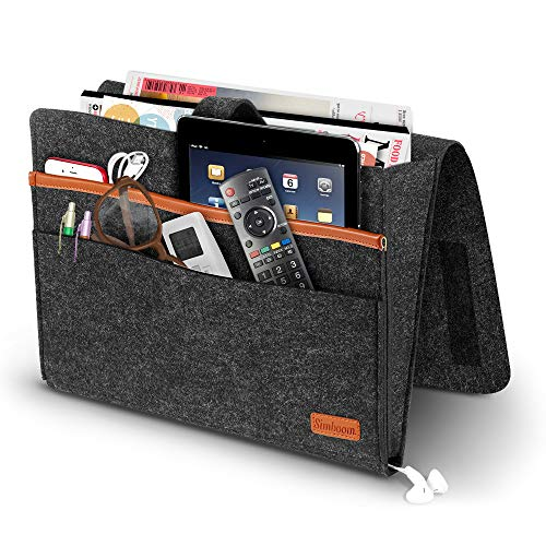Simboom Felt Bedside Caddy, Bedside Hanging Storage Organizer with Anti-Slip Velcro for Sorting Magazine, Tablet, Phone, Earphone, Remote, Glasses, Pen - Dark Grey from Simboom