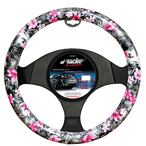 Simoni Racing CVT//36W Universal Steering Wheel Covers Flower Design Eco-Leather