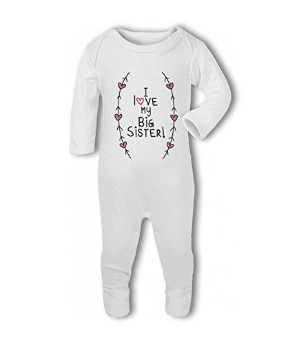 I Love My Big Sister! (Hearts and Arrows) - Baby Romper Suit from Simply Wallart