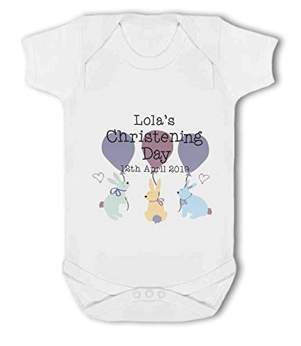 Personalised Name and Date Christening Girl Rabbits - Baby Vest from Simply Wallart