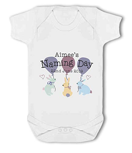 Personalised Name and Date Naming Day Girl Rabbits - Baby Vest from Simply Wallart