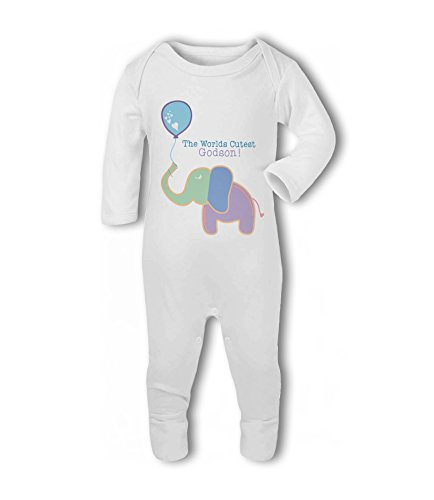 The Worlds Cutest Godson! (Elephant) - Baby Romper Suit - 12-18 Months from Simply Wallart