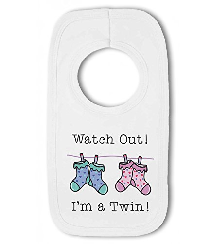 Watch Out! I'm a Twin! - Baby Pullover Bib from Simply Wallart