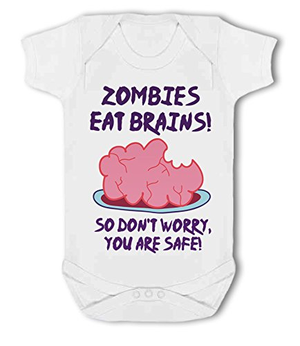 Zombies eat Brains so Don't Worry, You are Safe! - Baby Vest from Simply Wallart