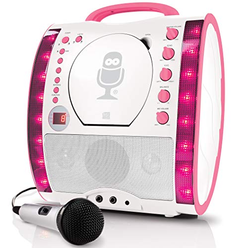 Singing Machine SML343BTPK Karaoke System with Bluetooth, CD, Led Lights and Microphone - Pink from Singing Machine