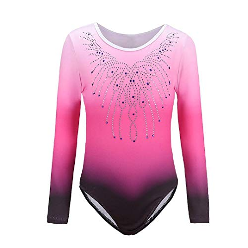 Sinoem Gymnastics Leotards for Girls One Piece Gradient Color Sparkle Dancing Ballet Gymnastics Athletic Dance Dress for Little Girl ((9-10 Year), Rosy-long sleeved) from Sinoem