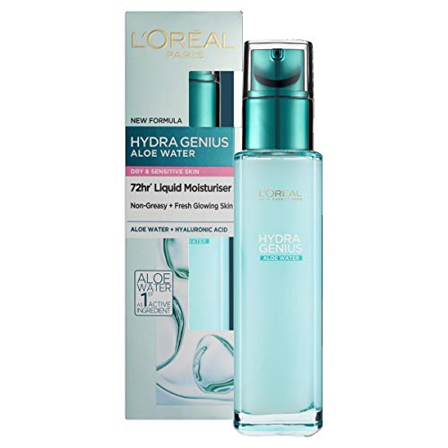 L'Oreal Paris Hydra Genius Hyaluronic Acid + Aloe Liquid Hydrating Moisturiser for Dry to Sensitive Skin, Rehydrating and Reinvigorating 70 ml from L'Oreal