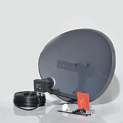 SSL Satellites Freesat HDR Satellite Dish DIY Self Installation Kit,Latest Dish with Quad LNB,5 Meter Twin Black coax Cable all necessary Brackets,Bolts and SATELLITE FINDER (5 Meter Kit, Black) from SSL