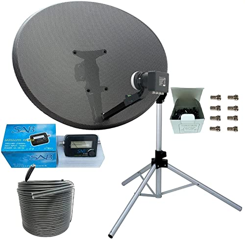 SSL Satellites works with Sky or Freesat Satellite Tripod and Dish Set for Caravan, Camping Complete with Tripod, MK 4 80cm Sky Dish, Quad LNB, 5M Twin Coax Cable, Clamp, Satellite Finder from SSL