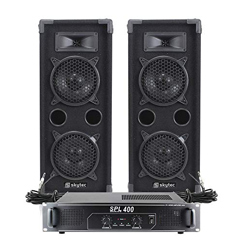 "2x MAX 2 x 6"" Speakers Mixer Power Amp Bedroom DJ Disco Party PA Hi-Fi 1200W from Skytec"