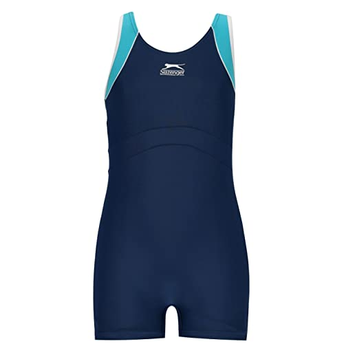 Slazenger Kids Boyleg Swimming Suit Junior Girls Stretch Fit Fabric Swimwear Navy 7-8 (SG) from Slazenger