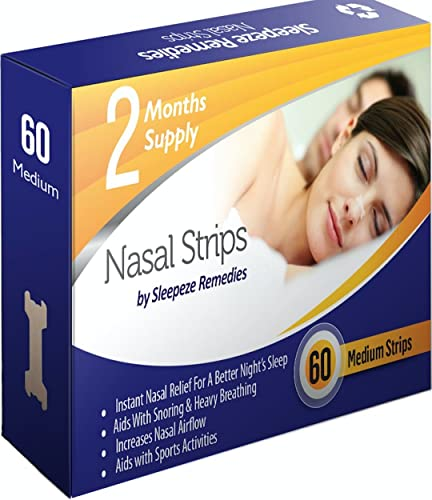 Nasal Strips Small/Medium 60 by Sleepeze Remedies® | Nose Strips to Stop Snoring and Help You Breathe Through Your Nose | Snoring Aids & Anti Snore Devices Support Sleep Apnea The Right Solution from Sleepeze Remedies