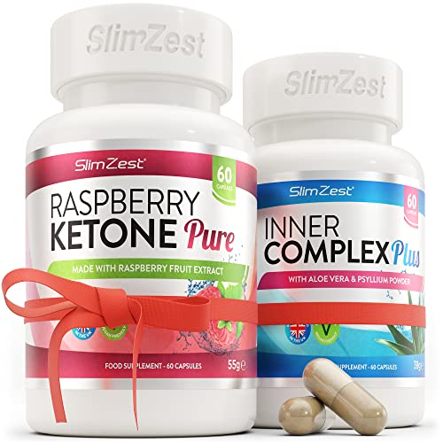 Raspberry Ketone and Colon Cleanse Detox Combo | UK Made Premium Grade Ketone | Large Supply Easy to Follow Diet Course | Vegan Friendly | from A Trusted UK Brand from SlimZest
