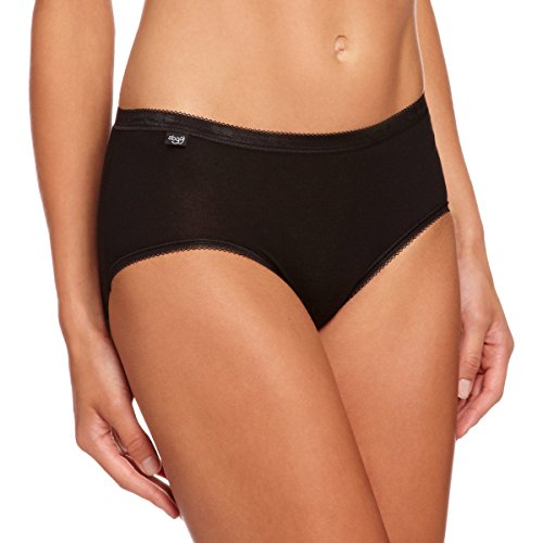 Sloggi Basic Plus Midi 3 Pack Women Brief, Black, Size 8 from Sloggi