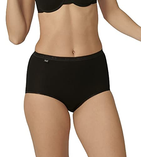 Sloggi Women's Basic Maxi 3 Pack plain Basic+ premium comfort Knickers, Black, Size 14 from Sloggi