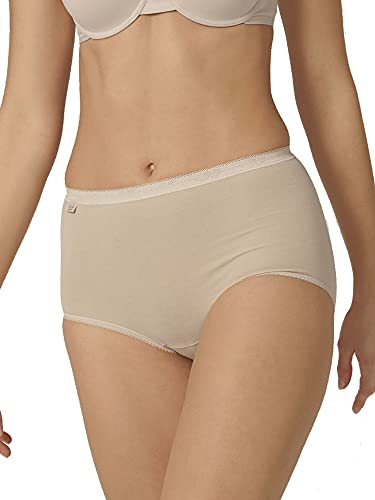 Sloggi Women's Basic Maxi 3 Pack plain Basic+ premium comfort Knickers, Beige (Powder), Size 10 from Sloggi