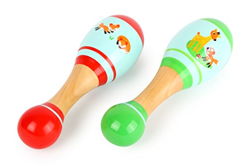 Small Foot 10723 Maracas Made of Colorful Wood, in a Child-Friendly Design and for pedagogical Rhythm Accompaniment, Encourages The Creativity from Small Foot