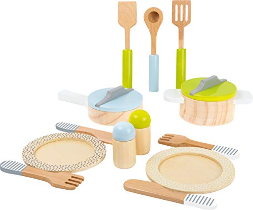 "small foot 11098 ""Children's Set"" Comprehensive 13 pieces wooden Set with pots, dishes, cutlery, utensils and salt&pepper shaker from Small Foot"