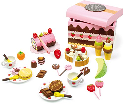 small foot 2847 Wooden candy box playset, accessories for shop and children's kitchen with sweets, 39-pcs. from Small Foot