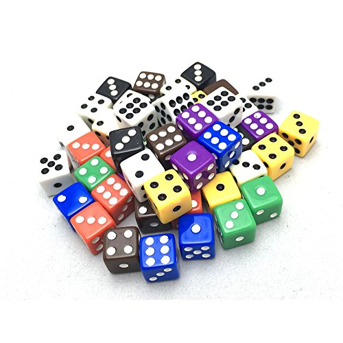 Smartdealspro 50-Pack D6 Six Sided 12mm Opaque Dice Die-Random Color(at least 5 colors) from Smartdealspro