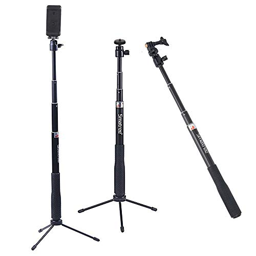 Smatree SmaPole Q3 Telescoping Pole / Selfie Stick with Tripod Stand for GoPro Hero 2018 Action Camera/GoPro Fusion/Hero 6/5/4/3+/3/2/1/Session Cameras / for Compact Cameras / Cell Phones from Smatree