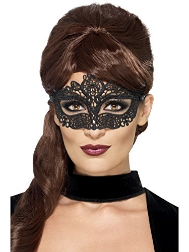 Smiffys Embroidered Lace Filigree Eye Mask, Black from Smiffys