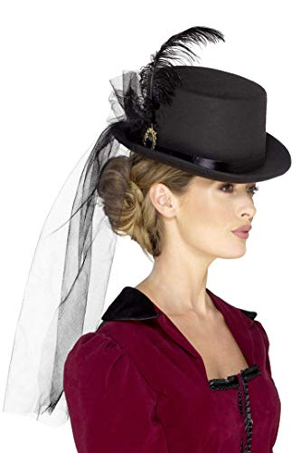 Smiffy's 48413 Deluxe Ladies Victorian Top Hat, Black, One Size from Smiffy's