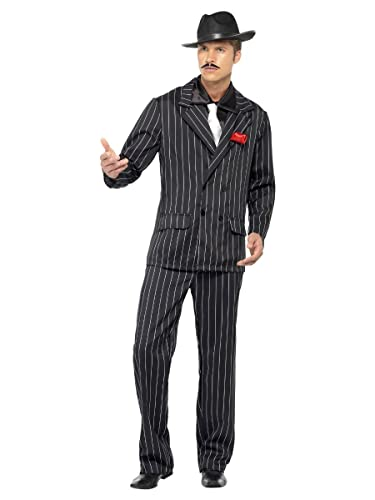 Smiffy's Adult Men's Zoot Suit Costume, Jacket, Rose in Lapel, Trousers, Shirt Front and Tie, 20's Razzle Dazzle, Serious Fun, Size: L, 25603 from Smiffy's